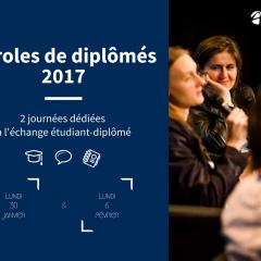 Parole de diplômés 2017 : RDV le 30 janvier et le 6 février