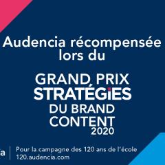 Audencia décroche une nouvelle fois le bronze du Grand Prix Stratégies du Brand Content